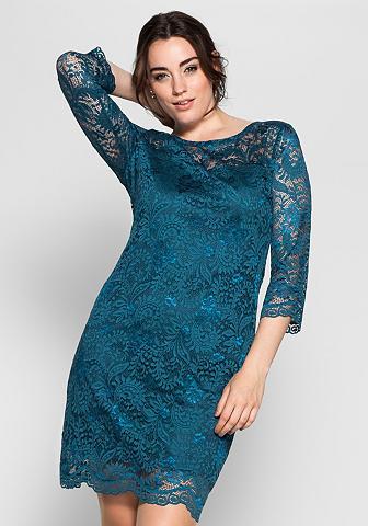 Nėriniuota suknelė su permatomas ranko...