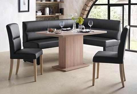 Kampinis virtuvės suolas su kėdėmis