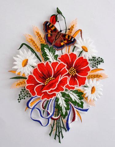 STICKEREIEN PLAUEN Lango dekoracija »Fensterbild Blumenst...