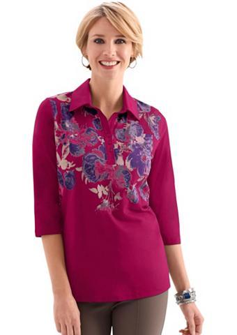 Polo marškinėliai su gėlėtas raštas