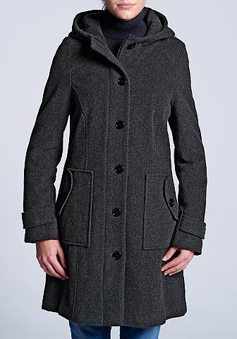Vilnonis paltas su gobtuvas