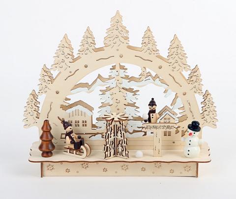 HGD HOLZ-GLAS-DESIGN Dekoracija Weihnachtsmarkt su LED Apšv...