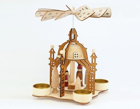 HGD HOLZ-GLAS-DESIGN Pyramide dėl 4 Teelichte Heilige Famil...