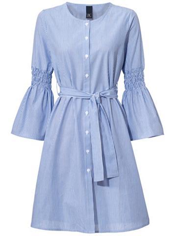 Dryžuota suknelė su varpo formos ranko...