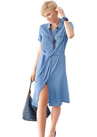 Džinsinė suknelė su surišamas diržas