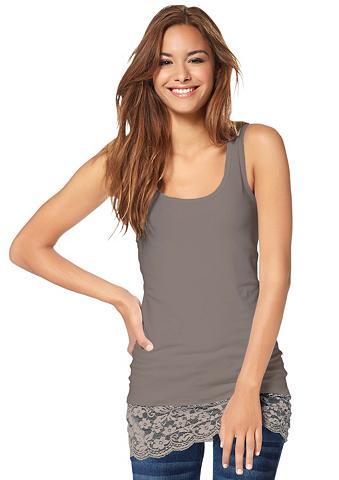 LADY Marškinėliai be rankovių su Spitzenbor...