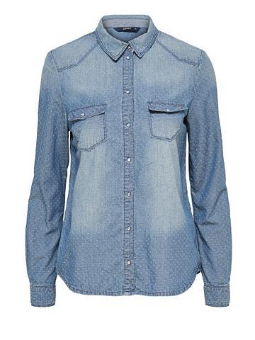 Ilgomis rankovėmis džinsiniai marškinė...