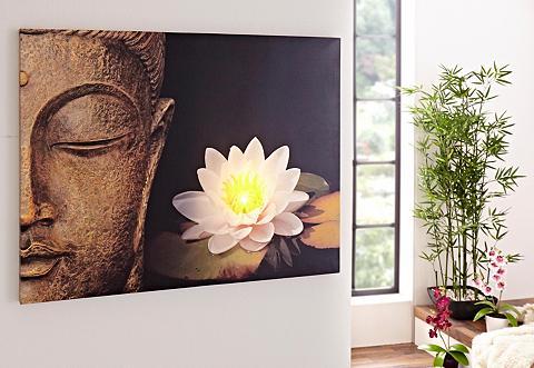 HOME AFFAIRE Paveikslas su LED lemputėmis »Buddha«