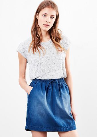 Džinsinis sijonas su trinto audinio im...