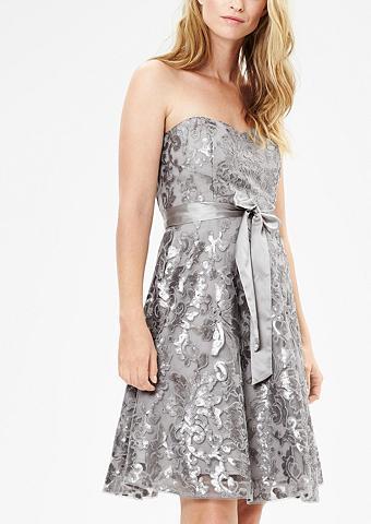 Apnuogintais pečiais suknelė su blizgu...