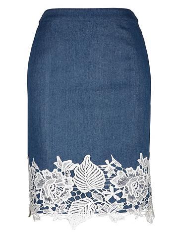 Džinsinis sijonas su Spitzenbordüre