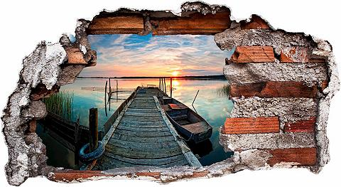 3D Sienos lipdukai »Sunset at the lake...
