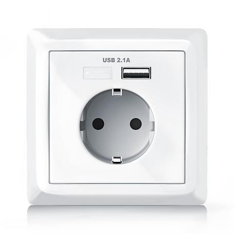 Aplic Schutzkontakt-Steckdose su USB-Port + ...
