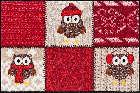SALONLOEWE Durų kilimėlis »Winter Owls Red« recht...