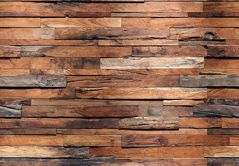 IDEALDECOR Fototapetas »Wooden Wall« 8 vnt. 366x2...