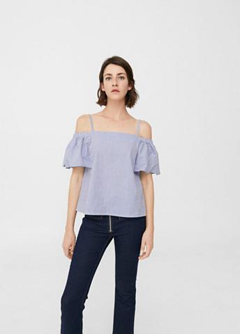 Dryžuota apnuoginanti pečius Marškinėl...