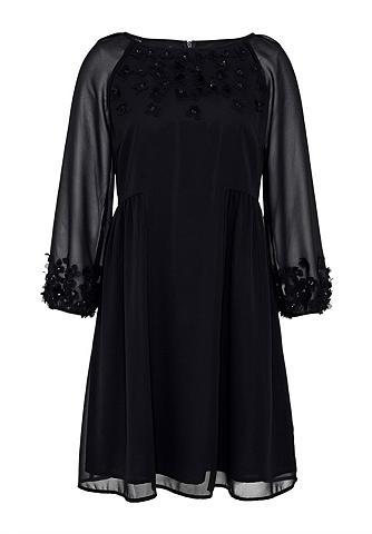 Plazdanti Georgette-Kleid su 3D-Blüten...