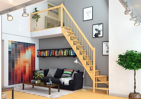 Kompaktiški laiptai »Lyon« kiefer 1/4 ...