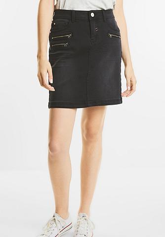 Dunkler denim Mini ilgio sijonas