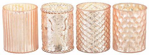 Teelichtgläser im Antik-Finish (4 dali...