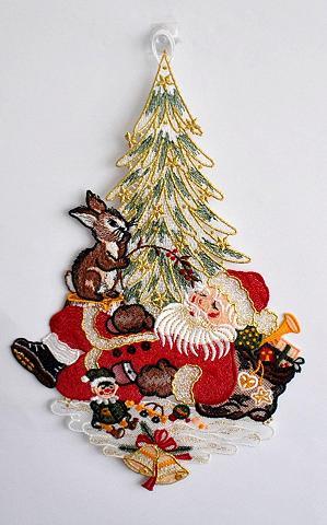 Stickereien Plauen Fensterbild »Weihnachtsmann«