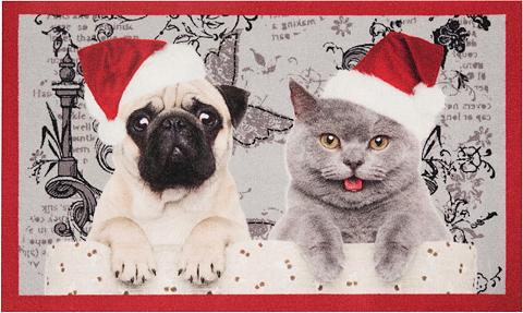 HANSE HOME Durų kilimėlis »Christmas Cat Dog« rec...