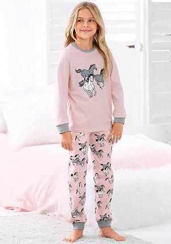PETITE FLEUR Mädchen pižama ilgis su Pferde raštas