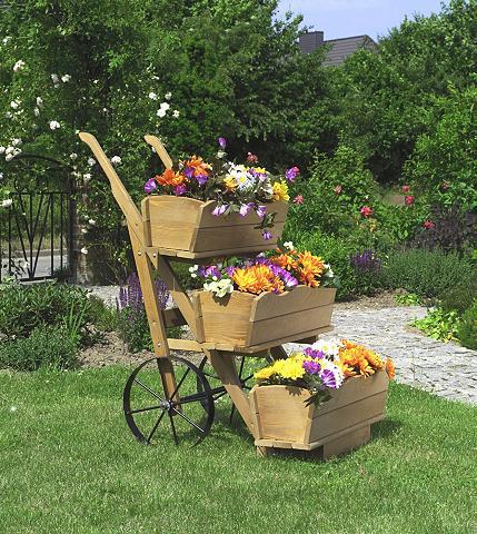 PROMADINO Vežimėlis gėlėms honigbraun su 3 Lovel...