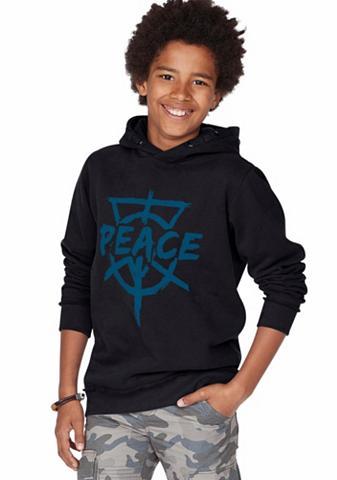 BUFFALO Sportinis megztinis su gobtuvu »PEACE«...