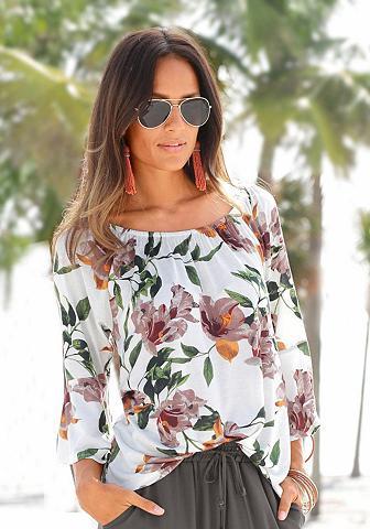 LASCANA Strandshirt su gėlėtas Print