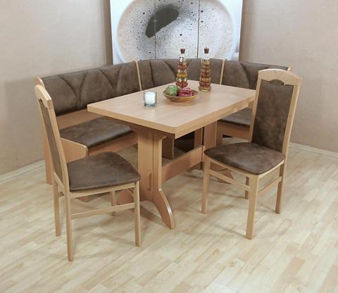 Kampinis virtuvės suolas su kėdėmis su...