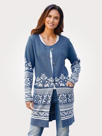 MONA Ilgas megztinis su Jaquard-Bordüre