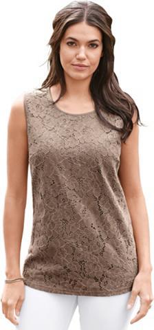 CLASSIC BASICS Marškinėliai be rankovių su nėrinių im...