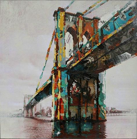 Öl-Wandbild »Brücke« 90cm x 90cm