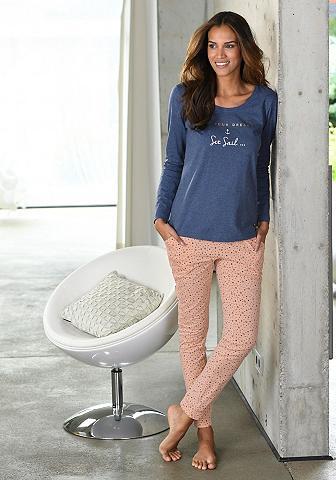 LASCANA Siauras pižaminės kelnės su taškiukai