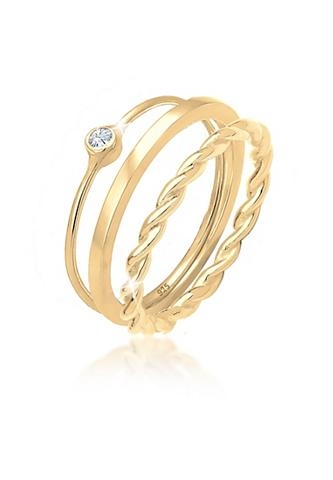 ELLI Solitärring »Ring-Set su Swarovski® Kr...
