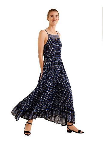 MANGO Raštuotas suknelė plonomis petnešėlėmi...