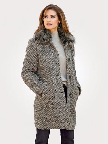 MONA Vilnonis paltas su gobtuvo apykaklė