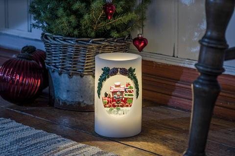 KONSTSMIDE LED Vaškinė žvakė Schneemann su Zug