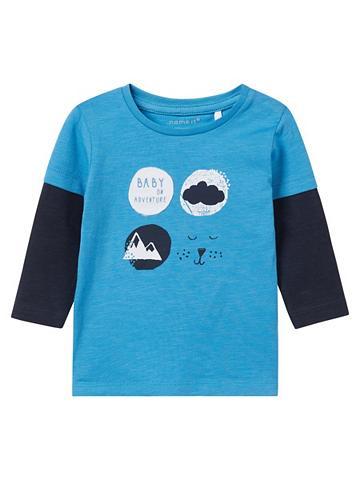 NAME IT Raštuotas Marškinėliai su ilgis rankov...