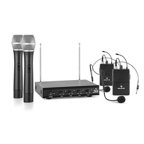 Auna 4-Kanal-VHF-Funkmikrofon rinkinys 2xHe...