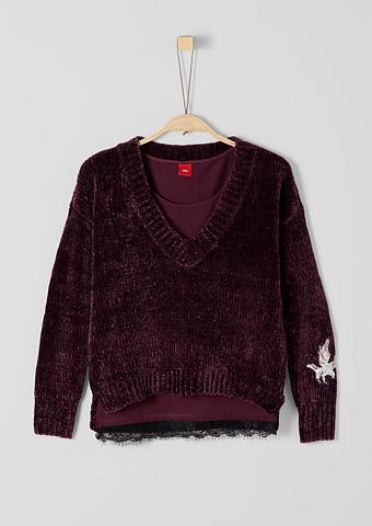 S.OLIVER RED LABEL JUNIOR 2-in-1: išsiuvinėtas megztinis su Marš...
