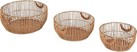 HOME AFFAIRE Krepšys iš Bambukas 3 vnt. rinkinys