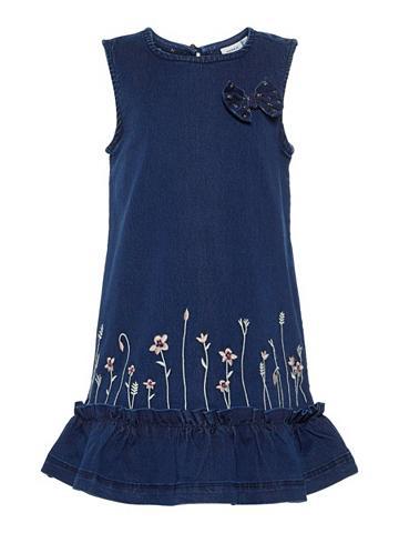 NAME IT Išsiuvinėta gėlėmis džinsinė suknelė