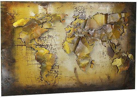 locker Metallbild »3D WELTKARTE« Weltkarte