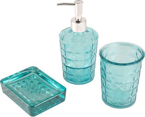 HOME AFFAIRE Vonios priedų rinkinys türkis Iš stikl...