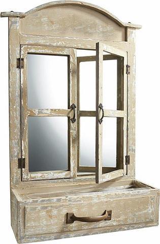 HOME AFFAIRE Deko langas su veidrodis ir Indelis