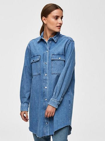 SELECTED FEMME Ilga džinsiniai marškinėliai