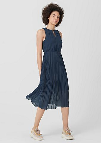 Q/S DESIGNED BY Midi ilgio suknelė su Plisuotos žaliuz...
