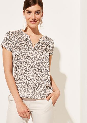COMMA Atlasiniai marškinėliai su neįkyrus pa...